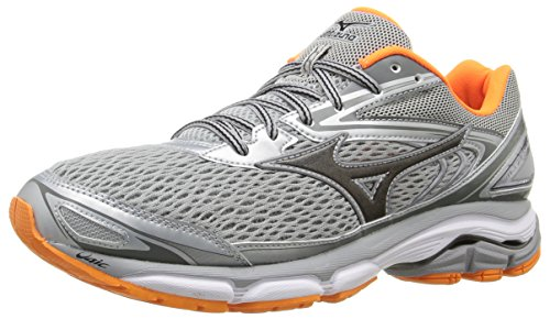 Mizuno Men's Wave Inspire 13 Running Shoe, Grey/Clownfish, 12 D US