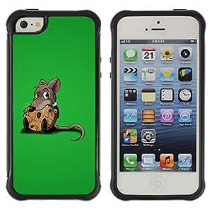 All-Round híbrido Heavy Duty de goma duro caso cubierta protectora Accesorio Generación-II BY RAYDREAMMM - Apple iPhone 5 / 5S - Rat Rodent Grey Cartoon Animation Cute Food