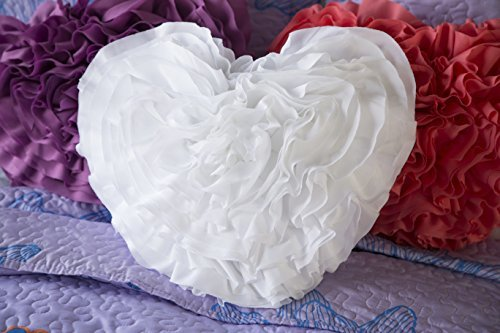 North End Decor Ruffled Heart, White Pillow,