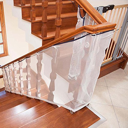 Bersun Children Safety Rail Balcony Stairs Safety Net -10ft L x 2.5ft H -Adjustable-Indoor & Outdoor usage-Child Safety; Pet Safety; Toy Safety; Stairs Protector by Bersun
