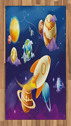 Boy's Room Area Rug by Lunarable, Solar System of Planets with a Cute Spaceship Milky Way Galaxy Earth Jupiter Sun, Flat Woven Accent Rug for Living Room Bedroom Dining Room, 2.6 x 5 FT, Multicolor by Lunarable
