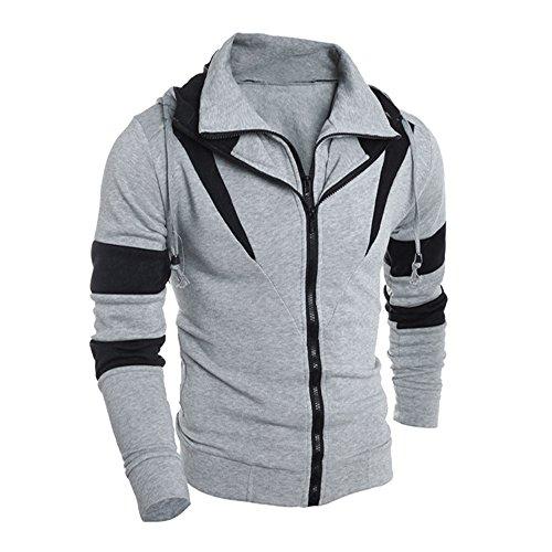 Haut Kingwo Gris Homme Fermeture Vintage Longues Shirt Éclair À Double Manches Veste Sweat Colorblock Cardigan qFr6Aqdz