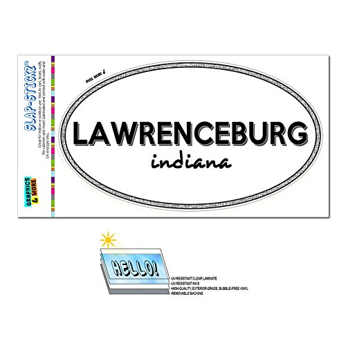 Graphics and More Euro Oval Window Bumper Glossy Laminated Sticker Indiana IN City State Fra - Nas - Lawrenceburg
