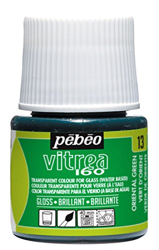 Oriental Stained Glass - Pebeo Vitrea 160, Glossy Glass Paint, 45 ml Bottle - Oriental Green