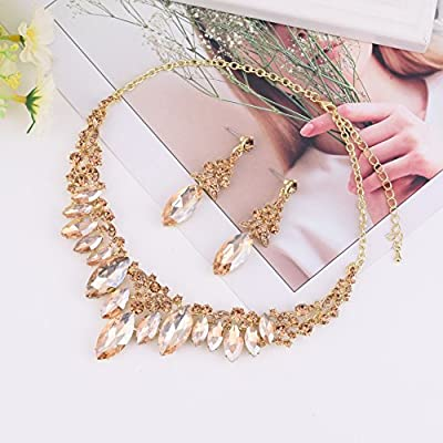 Paxuan Silver Gold Wedding Bridal Bridesmaid Austrian Crystal Rhinestone Jewelry Sets Statement Choker Necklace Earrings Sets for Wedding Party Prom