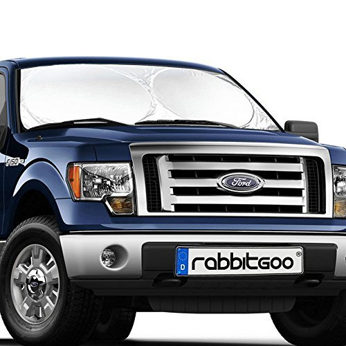 Rabbitgoo Front Car Windshield Sun Shade-Jumbo/Standard Car Sunshade Protector- A Powerful UV Ray Deflector-Best for Cool Interior & Dashboard Protection X-Large 65.7 x 36.4 Inches