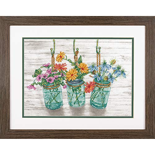 Dimensions 70-35378 Flowers in Mason Jars Cross Stitch Kit, 14 Count White Aida Cloth, 14