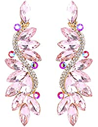 Women's Wedding Bridal Crystal Multi Marquise Filigree Flower Chandelier Clip-On Dangle Earrings
