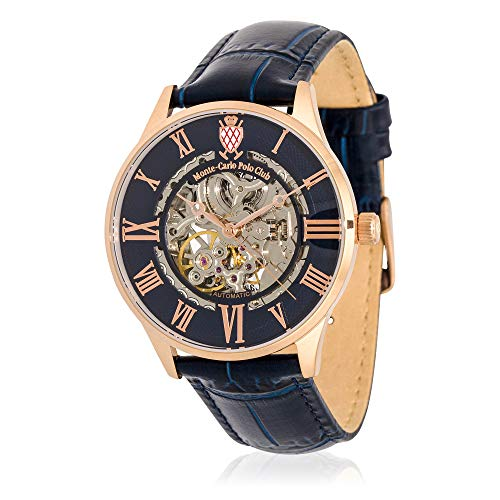 Carlo Watch Leather Monte (Monte-Carlo Polo Club Mens Classic Automatic Watch with Blue Dial and Blue Croco Leather Strap)
