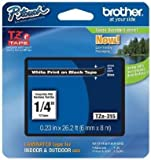 """1/4"""" Laminated White on Black Tape (1/Pkg) (26.2 Ft.) For use in TZ P-Touch: All TZ Machines -"""