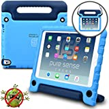 Pure Sense Buddy Kids Case Compatible with iPad Pro 9.7, iPad Air 2   Anti Microbial Shock Proof Cover for Kids   Boys, Girls   Shoulder Strap, Handle & Stand   Apple A1673 A1674 A1566 A1567 (Blue)