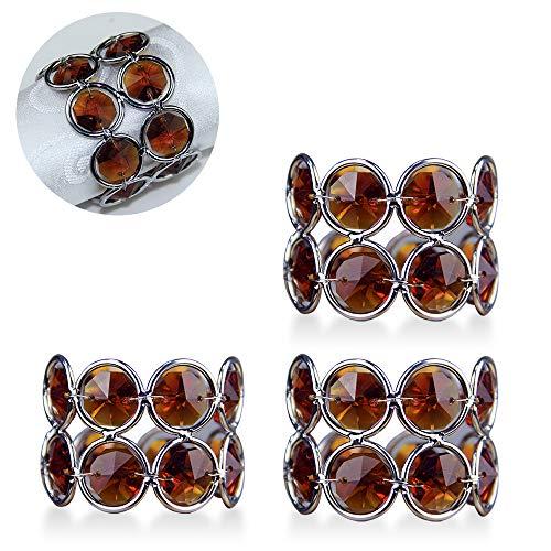 VINCIGANT Handmade Crystal Napkin Rings Holder for Wedding Reception Dinning Table Decor (Amber,Pack of 4)]()