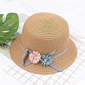 Kanggest Cappello Paglia per Bambina Cappello Panama Bambino con Bow-Knot e Fiori Cappelli di Paglia Cappello di Paglia per Estate Protezione UV-Stile 2