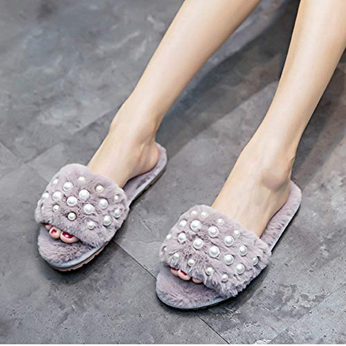 Cozy Slippers Grey Beading Shoes Candy Winter Designer JULY Women's Home T Fur Flops Color Flip Slides Sandals Pearl TFw4Pwxq