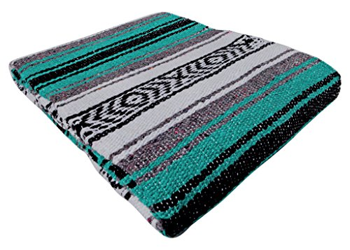 El Paso Designs Genuine Mexican Falsa Blanket - Yoga Studio Blanket, Colorful, Soft Woven Serape Imported from Mexico (Esmerelda)