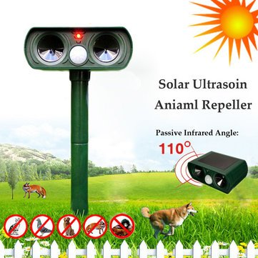 GreatHouse Ultrasonic Solar Power Cat Dog Repeller Outdoor Garden Infrared Sensor Animal Scarer