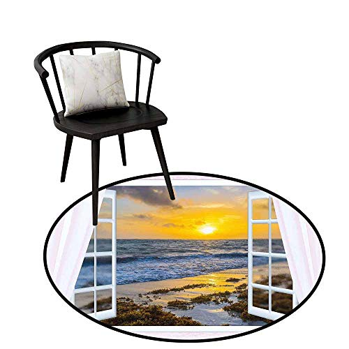 """Round Area Rugs Living Room Carpet Coastal,Open Window View of The Sky with Clouds Rising Sun Seascape Grass Morning Scenery,Rug Accent Mat for Livingroom Diningroom Bedroom 35"""" inch"""