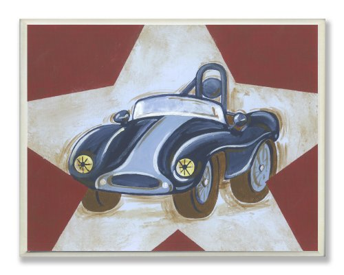The Kids Room by Stupell Blue Car on White Star and Red Background Rectangle Wall Plaque