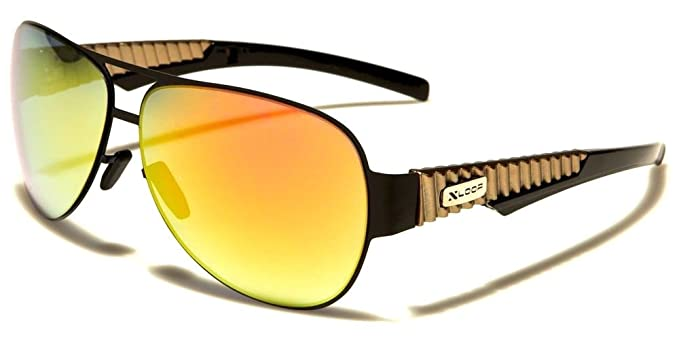 90f0d3bb4d X-Loop Thin Flexible Metal   Plastic Aviator Sunglasses (Black   Gold Frame