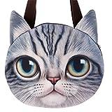 IEnkidu Handbags for Women, Cute 3D Cat Head Travel Single Shoulder Straps Crossbody Messenger Handbag Zipper Tote Bag Large
