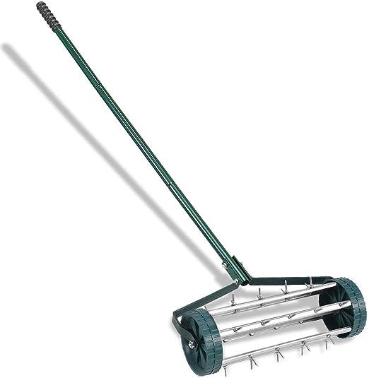 Goplus (Rolling aireador de césped jardín Patio Rotary empuje Tine Spike aireación del suelo pesado deber: Amazon.es: Jardín