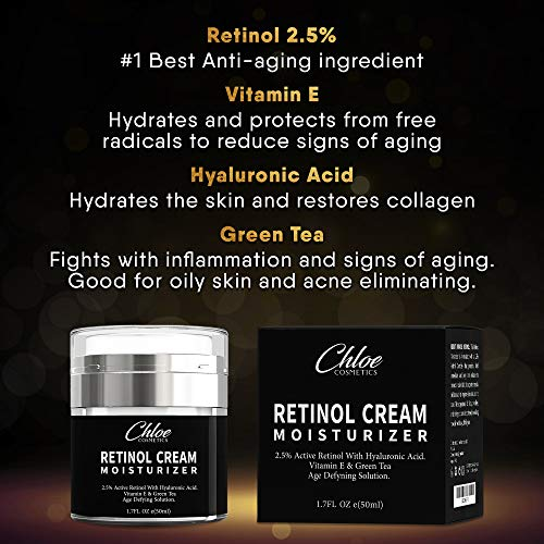 51MGyI7AHGL - Retinol Moisturizer for Face and Eye area | Anti Aging Cream with Hyaluronic Acid, 2.5% Active Retinol and Vitamin E | Reduces Appearance of Wrinkles and Fine lines | Best Day and Night Face Cream