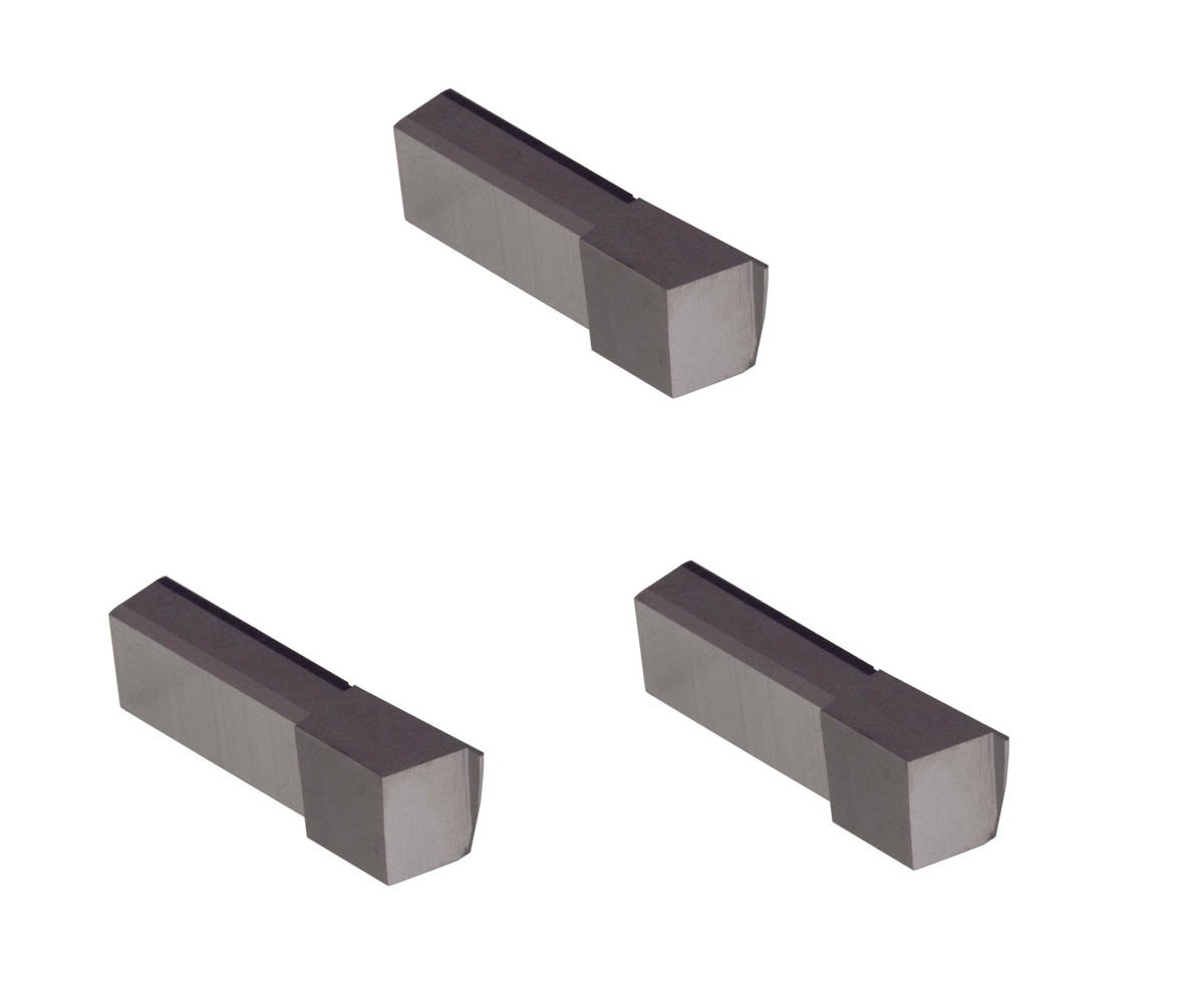 3 Pack LGT017D2RCR005.017 Width.051 Depth, Uncoated Carbide, Corner Radius .005'', THINBIT Grooving Insert for Steel, cast Iron and Stainless Steel with Interrupted cuts by GROOVE 'N TURN