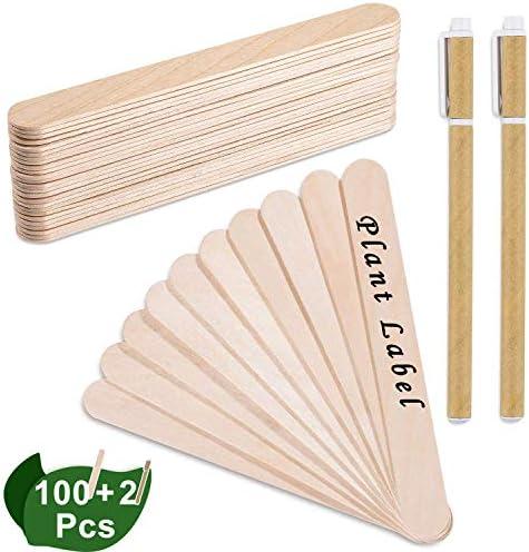 Whaline 100 STK 15 cm Popsicle Sticks Holzstäbchen Natürliche Craft Sticks Pflanzenschilder Etikette für Handwerk Hausgemachte DIY Dessert Machen Pflanzen Marker (und 2 STK Marker Stifte)