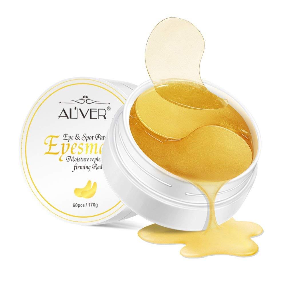 24K Gold Gel Collegan Eye mask Eye Patchs for Eye Moisturizing, Lightens Dark Circles and Reduces Bags Under Eyes, Anti-Wrinkle, Moisturizes and Anti Aging Skin(60pcs)