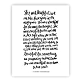 She Was Beautiful F. Scott Fitzgerald Print Art | Love Quotes Inspirational Gallery Wall Office Accessories Home Decor Wedding Gift