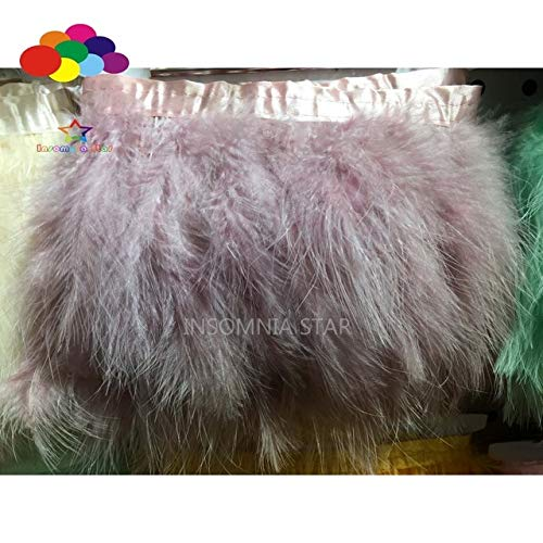 Maslin 2 Meter Natural Turkey Pointed Feather 4-6 Inch Strip Fluffy Wedding Marabou Trimming Skirt Dress Trims - (Color: Lilac) Color Marabou Feather Trim