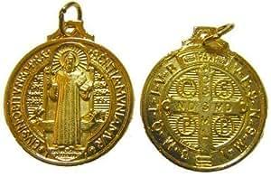 R Heaven - Católico rosario medalla - imagen san benito - 25mm , color oro metálico