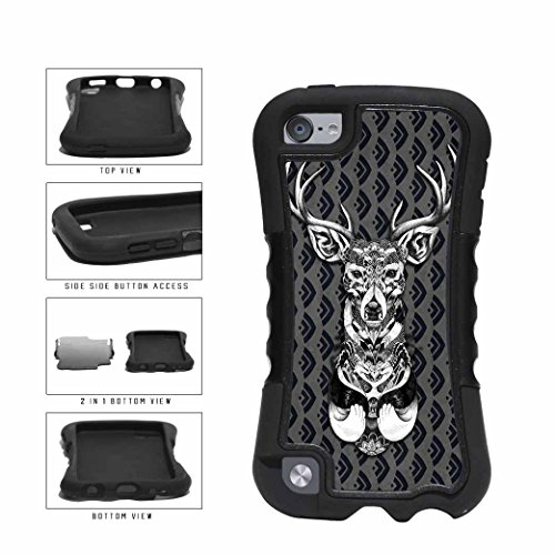 Black And White Deer On Filigree Pattern Dual Layer Phone Case Back Cover Apple iPod Touch 5th Generation comes with Security Tag and MyPhone Designs(TM) Cleaning Cloth