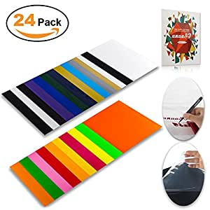 Heat Transfer Vinyl HTV Bundle Variety Pack Assortment for T shirts Fabric 12x10 24 Sheets Iron On Vinyl Colored Starter Kit for Silhouette Cameo and Cricut BONUS 1 Weeding Tweezers