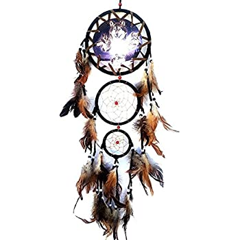 Fenta Handmade Tricyclic Wolf Head Painting Dream Catcher Car Wall Hanging Feather Decoration Ornament
