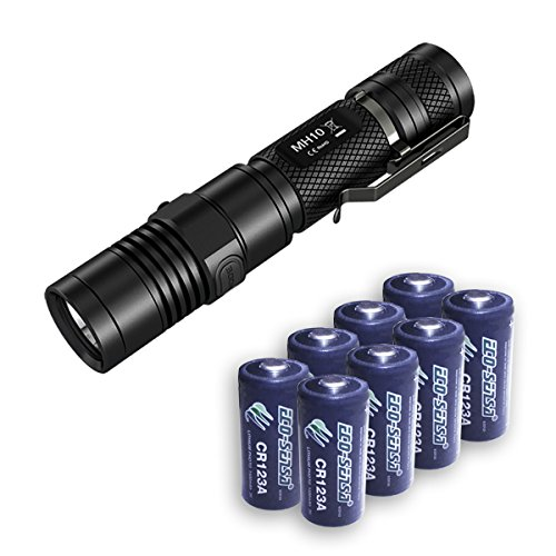 Nitecore MH10 XM-L2 U2 Flashlight 1000 Lumens w/8x FREE Premium Eco-Sensa CR123A Batteries by Nitecore