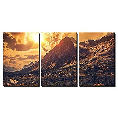 3 Piece Canvas Wall Art - Italian Alps Scenery. Northern Italy Mountain Landscape. - Modern Home Art Stretched and Framed Ready to Hang - 16