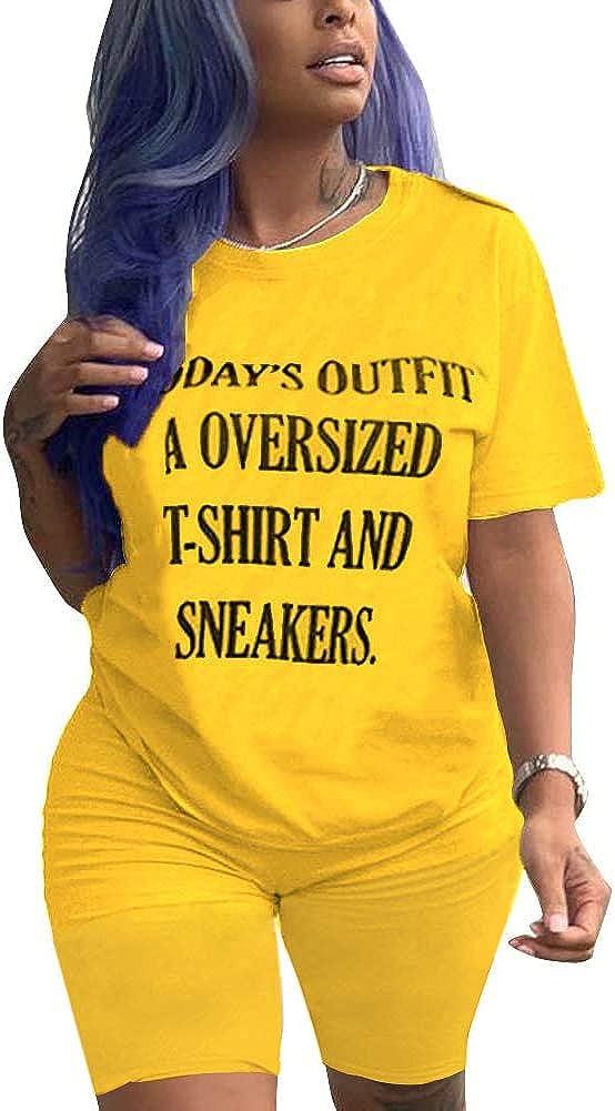 GLIENST Women 2 Piece Outfits Summer Letter Print Short Sleeve T-Shirts Bodycon Short Sets Romper Jumpsuits