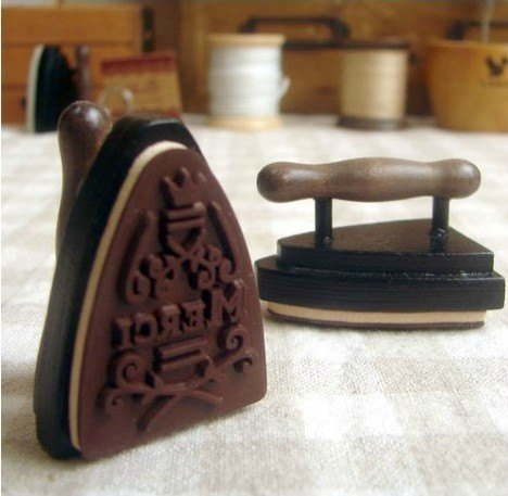 UPC 519486026850, Wooden Rubber Stamp - Vintage Style - Electric Iron - Merci