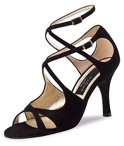 Nueva Epoca-Tango/Salsa Femme Chaussures de Danse Amalia-Suède noir-8cm