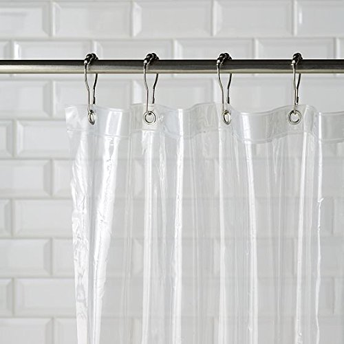 Magnetized Shower Curtain Liner Mildew Resistant (Clear) -