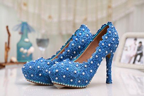 Minishion Womens Slip-on Handgemaakte Satijn Bruiloft Feestavond Prom Schoenen Blauw-12cm Hak