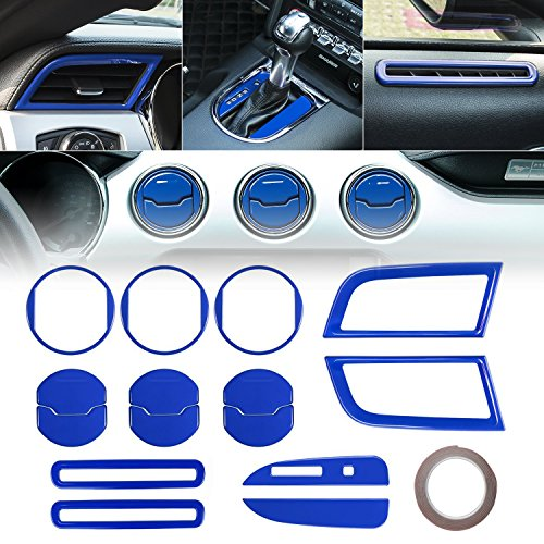2015 2016 2017 2018 Ford Mustang Interior 15 PCS Accessories Decoration Set Console Central, Door, Dash Board Side Air Conditioner Outlet Vent, Chrome Shift Gear Box Switch Button Cover Trim (Blue)