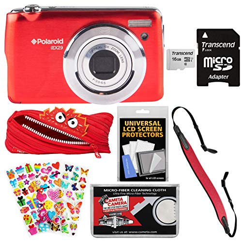 Polaroid iEX29 18MP 10x Digital Camera (Red) with 16GB Card + Case + Strap + Puffy Stickers + Kit