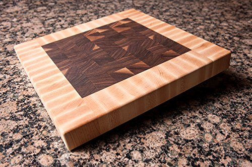Chopping Blox Square end-grain cutting board walnut and maple. SIXB-W