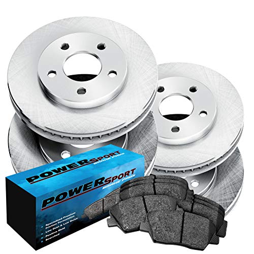 Fit 1999-2004 Jeep Grand Cherokee Front Rear Plain Brake Rotors+Ceramic Pads