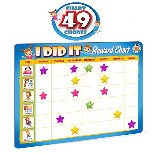 Good Chart Reward Behavior (Rewards Chore Chart for Kids - 49 Responsibility and Behavior Chores - Ultra Thick Magnetic Board)