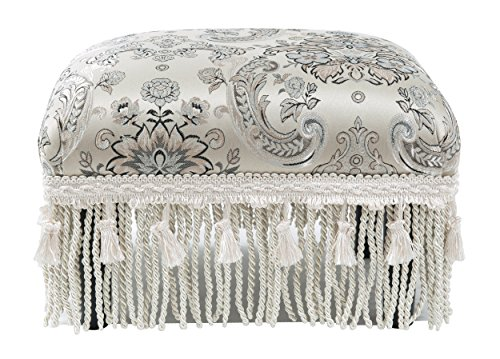 (Jennifer Taylor Home Fiona Collection Traditional Style Upholstered Fringed and Tasseled Rectangular Wood Framed Footstool, Arabesque)