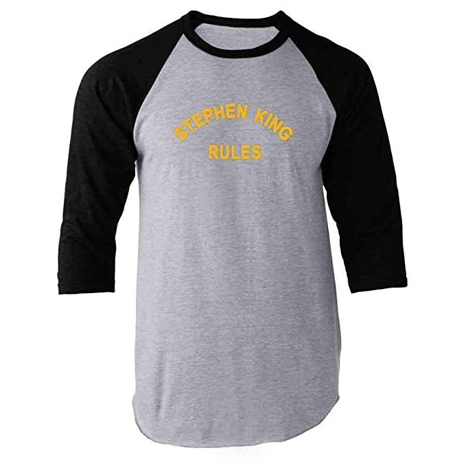 b2d18259f Amazon.com: Stephen King Rules Horror Raglan Baseball Tee Shirt ...