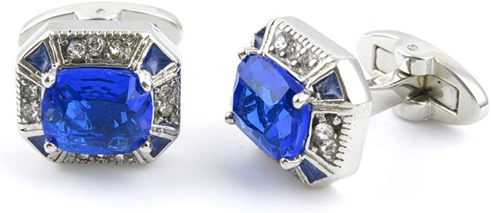 2 Pairs Jewelry Classical Shirt Bouton Mens Cloth Cufflinks Cuff Links IB0E2 Hollow Blue Crystal